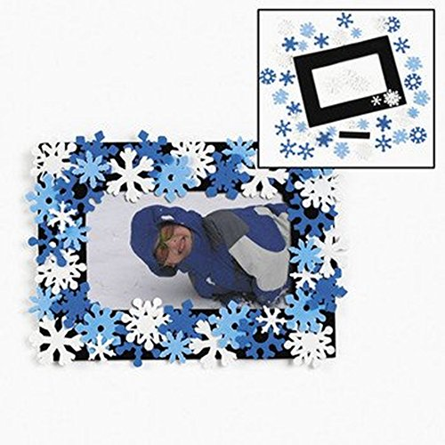 Set of 12 Snowflake Photo Picture Frame Magnet Craft Kit