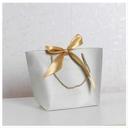 FHFF - Bolsa de papel kraft (tamaño grande, caja de regalo, para pijamas, ropa, libros, embalaje, 36 x 26 x 11 cm), color gris claro: Amazon.es: Oficina y papelería