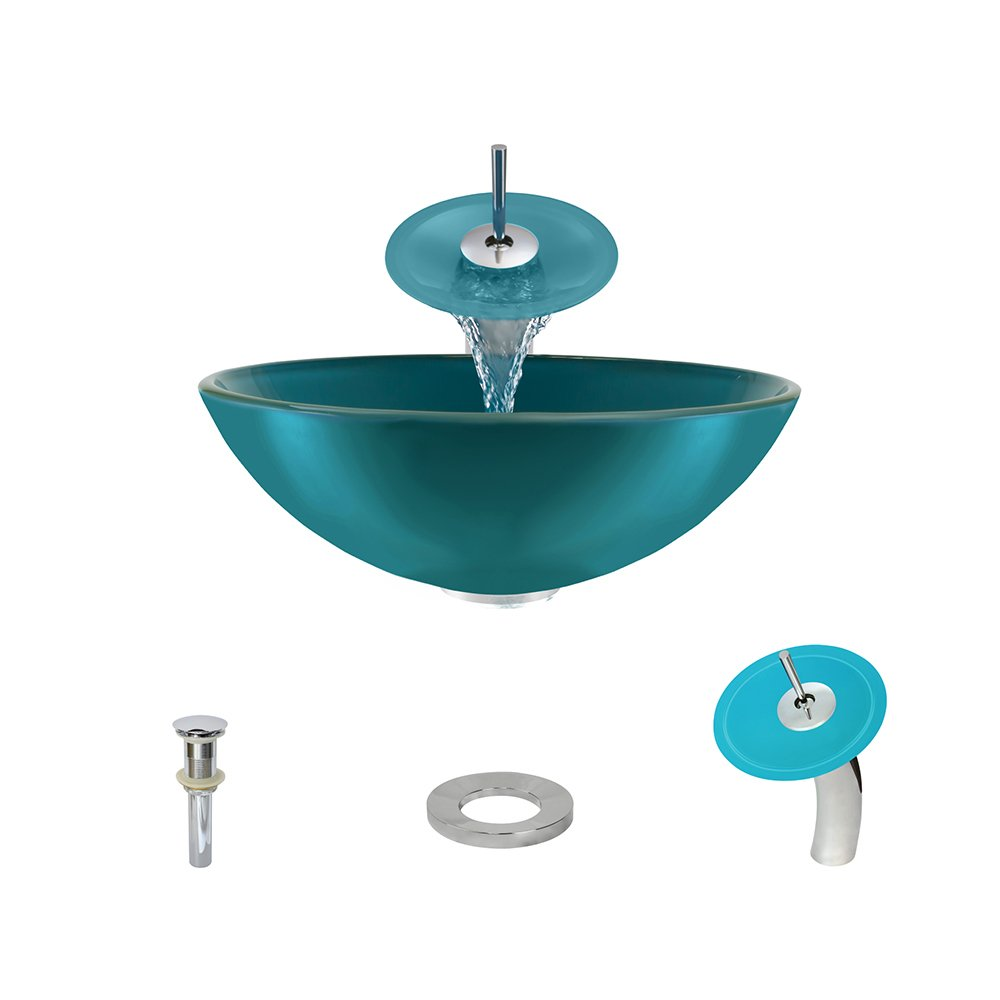 601 Turquoise Chrome Waterfall Faucet Bathroom Ensemble by MR Direct