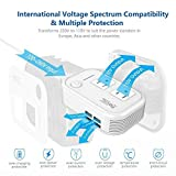 Foval Power Step Down 220V to 110V Voltage Converter with 4-Port USB International Power Travel Adapter in UK European Italy Asia etc, More Than 150 Countries over The World