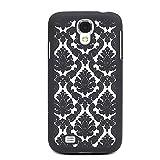 Damask Vintage Pattern Rubber Matte Hard Back Case Cover for Samsung Galaxy S4 I9500 (Black)