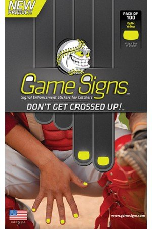 Fluorescent Yellow Baseball/Softball Catcher Fingernail Game Sign Stickers (100 Stickers/pack) Catcher Game