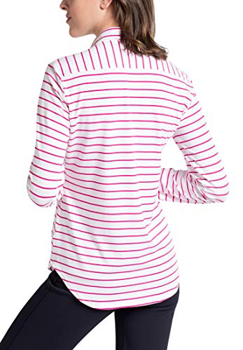 Blouse blanco Striped Fit Long Eterna Slim Sleeve Fucsia 1ZOWFq