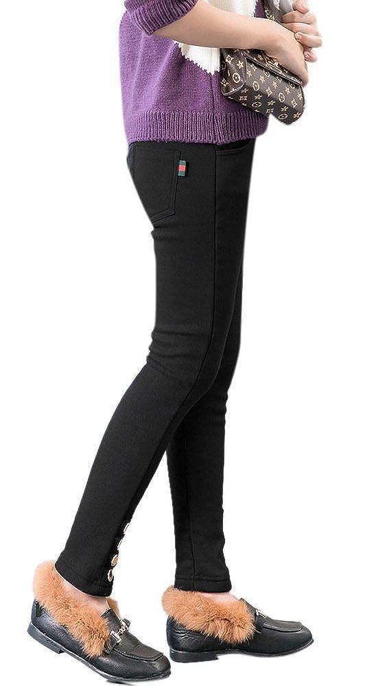 COLINNA Girls Winter Warm Fleece Lined Elastic Waist Stretchy Leggings Pants