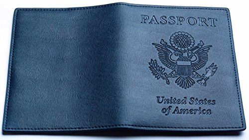 YumisGroup Leather Passport Case, Cover, Holder for Travel, Dark Blue. New - Anchorage San Francisco