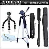 Tripod Accessory Bundle Kit For Toshiba Camileo X100 Camileo H30 Full HD Camcorder Includes 50 Inch Pro Tripod + 67 Inch Monopod + 7'' Gripster Flexible Tripod + MicroFiber Cleaning Cloth