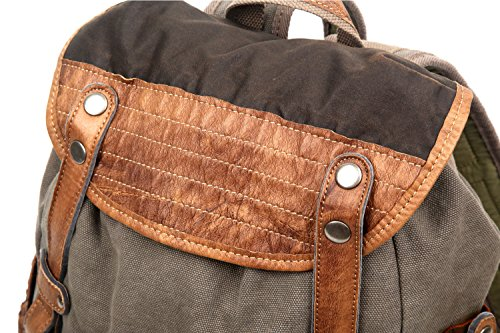 The Same Direction Tapa Two Tone Canvas Backpack Leather and Canvas Bag (Grey) by The Same Direction (Image #6)