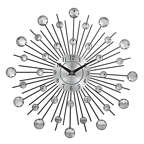 Najer Crystal Sunburst Metal Clock Home Art Decorative Wall (Crystal Silver Clock)