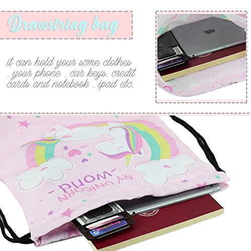 Unicorn Gifts for Girls - Unicorn Drawstring Backpack/Makeup Bag/Bracelet/Inspirational Necklace/Hair Ties by CMK TRENDY KIDS (Image #6)