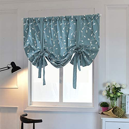 Tie Up Curtains, Leaf Embroidery Roman Curtains 52 x 63 Tie-up Valance Room Darkening Shades For Windows Exquisite Teal Ballon Short Window Shade Easy install For Bedroom Kitchen Home Green