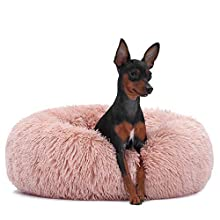 Neekor Cat Dog Beds, Soft Plush Donut Pet Bedding Winter Warm Sleeping Round Fluffy Pet Calming Bed Cuddler for Puppy Dogs/Cats, Size: Small/Medium/Large (Pink/Large)