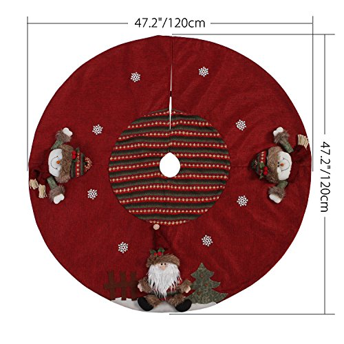 Sea Team 47'' Luxury Collection Cotton Blend & Non-woven Fabric Double-layer Applique Christmas Tree Skirt with Stereoscopic Pop Christmas Elements, Burgundy by Sea Team (Image #1)
