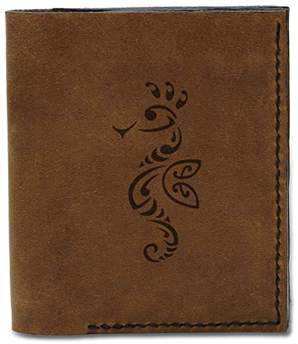 Tattoo Seahorse Natural Men's Handmade 8 Genuine b Tribal Tattoo 04 Wallet Seahorse MHLT Leather P6aaxd