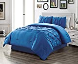 3 Piece QUEEN size Solid ROYAL BLUE Double-Needle Stitch Puckered Pinch Pleat Stripe All-Season Bedding-Goose Down Alternative Comforter Set