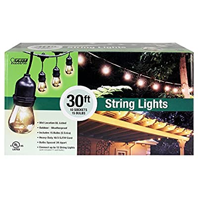 Feit Electric 72041 30' 10-Socket, 15 Bulbs, Outdoor String Light Set