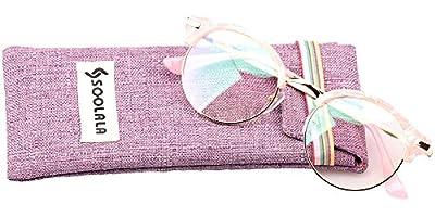 SOOLALA Retro Stylish Round Semi-rimless Magnifying Reading Glass Cateye Eyeglass