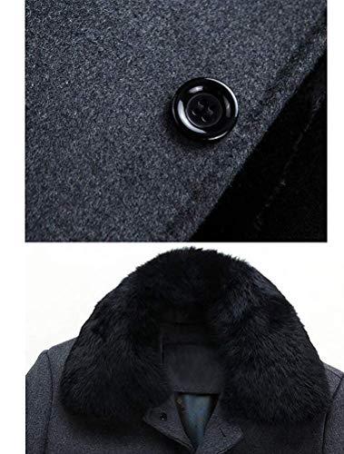 Invierno Solo 1 Con De Tamaño Un Cuello color Abrigo Caído Largo Sg Lana Zhrui Style thick Grey Pecho 1 grey Hombres qFwzxYU