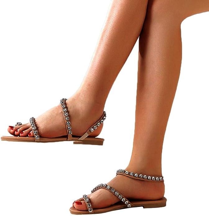 Sandales Femmes Plates Pas Chers//Sandales Compensees Femme /ét/é Vintage Mesdames Low Top Strass Bout Rond Boucle Flip Flossa Sandales Romaines Sandales Femmes Plates Chic