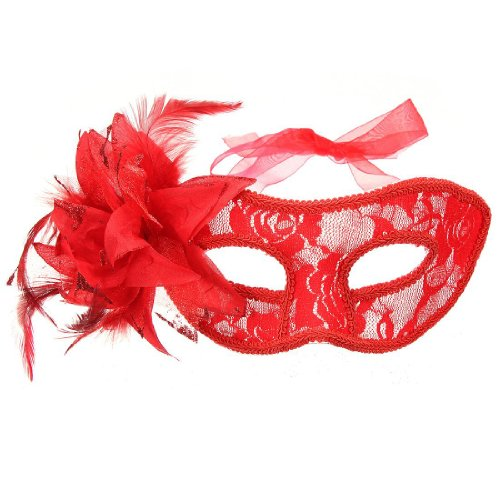 [Tinksky Venetian Lace Mask with Flower] (Red Masquerade Mask)