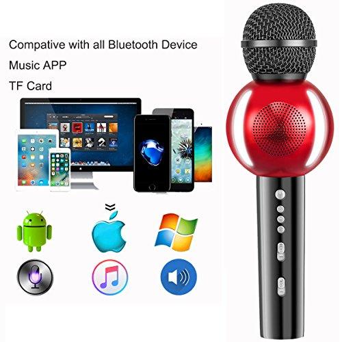 Moresky Karaoke Microphone Bluetooth Speaker Wireless Handheld Mic  Campatible for Apple iPhone Android Samsung Smartphone iPad Home KTV  Singing,