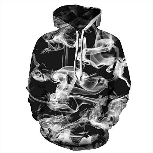 NEWCOSPLAY Unisex Athletic Hooded Sweatshirts 3D Digital Printed Hoodies Colorful Galaxy Pattern Big Pocket Sweaters (XXL, Black Ink)