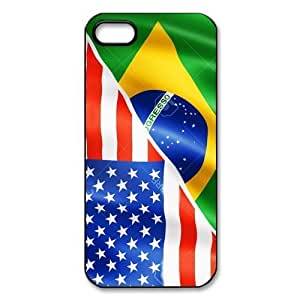 TYH - Cheap phone case, USA mixed Brazil flag pattern for black plastic iphone 5,5s case phone case