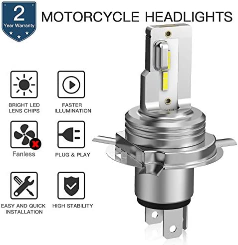 Bevinsee H4 9003 Motorcycle Headlight LED White Hi//Low Beam Bulbs Replace Vulcan VN 88 750 800 900 1500 1600 1700 2000,2pcs