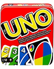 UNO Family Card Game, with 112 Cards in a Sturdy Storage Tin, Travel-Friendly, Makes a Great Gift for 7 Year Olds and Up