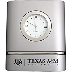 Texas A&M University- Two-Toned Desk Clock -Silver