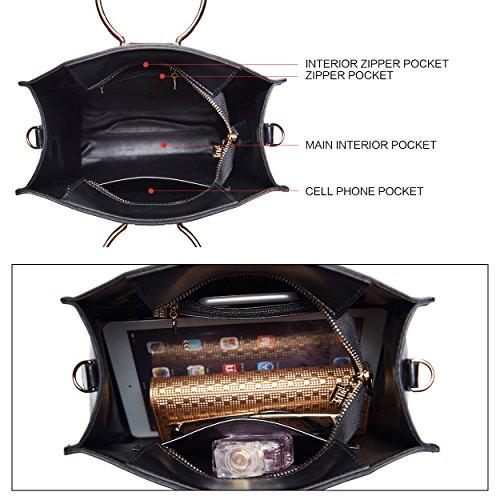 BOYATU Shoulder for Leather Black Crossbodybag High Purse Tote Handbags Capacity Women rg7r8qTB1y