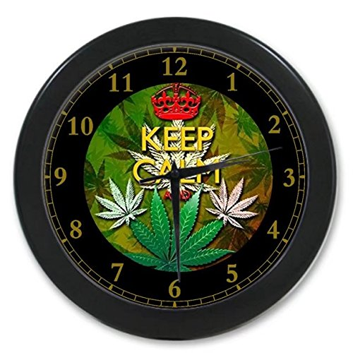 Keep Calm and Marijuana Weed Leaf Custom Wall Clock Quartz 9.65