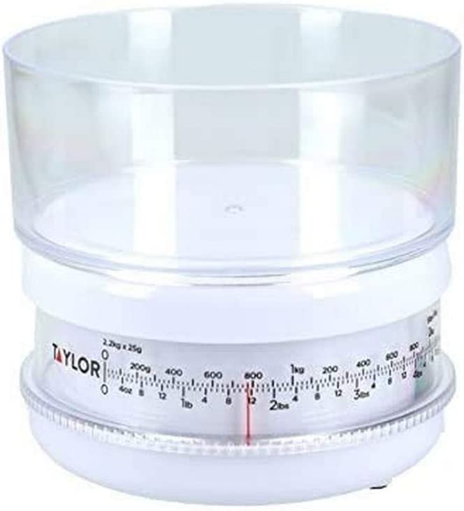 Taylor Compact Mechanical Kitchen Food Scales with Bowl, Highly Accurate with Tare Function and Precision, White Weighs 2.2 kg Capacity