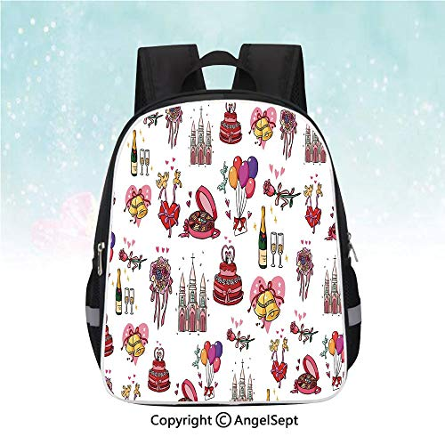 Schoolbag for Kids,Wedding Collection Cake Bridal Bouquet Bells Hearts Birds Ceremony Art,13