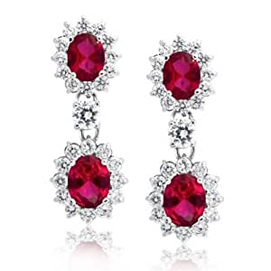Bling Jewelry Round Crown Set Synthetic Ruby Oval CZ Drop Dangle Earrings Rhodium Plated Brass