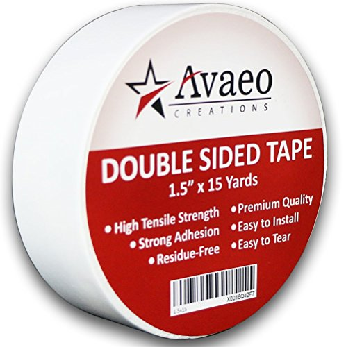 Avaeo Creations Double Sided Tape Heavy Duty-1.5' x 15 Yards-Indoor/Outdoor-White-No Residue-Easy to Install Removes w/o Damage