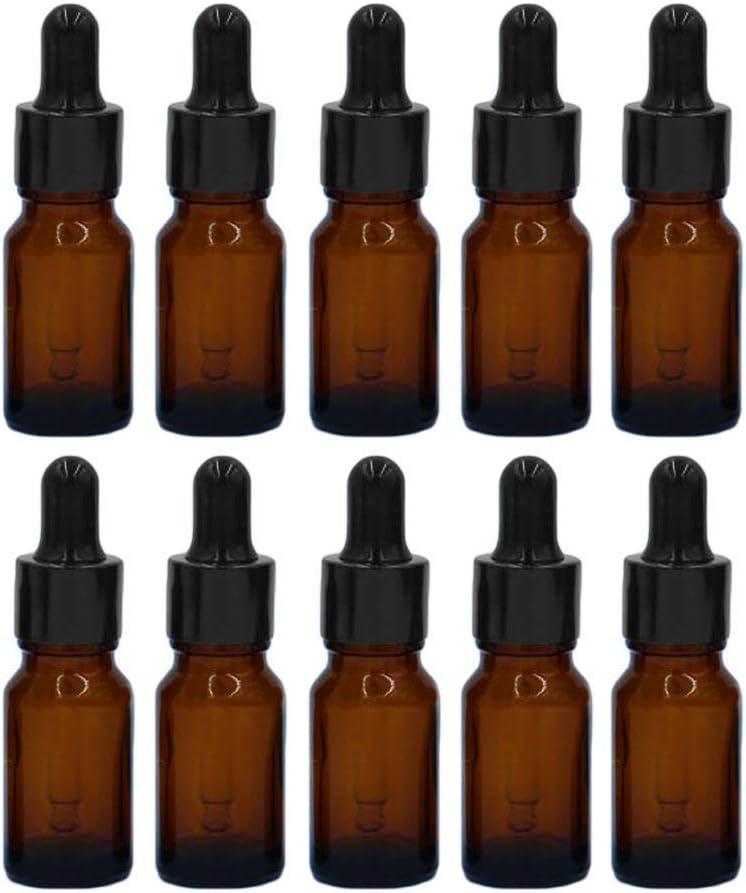 MINGZE 10 piezas Cuentagotas de botellas de vidrio para aceites esenciales, botellas de vidrio recargables vacías, de 20 ml, de viaje portátil, contenedores de líquido de perfume de aceite Botellas