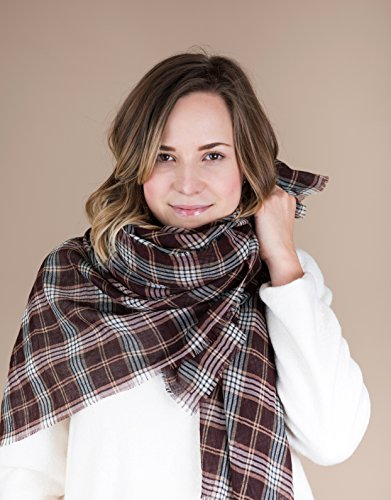 Brown Beige Plaid Wool Blanket Scarf by BAUH designs