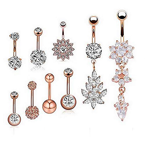 Oyaface 9PCS 14G Stainless Steel Dangle Belly Button Rings Navel Barbell Body Jewelry Piercing