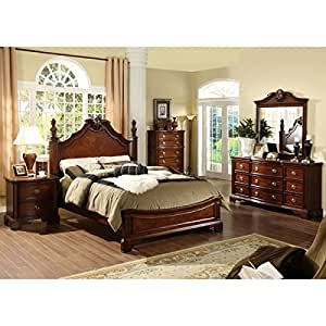 Carlsbad Ii English Style Dark Cherry Finish Cal King Size 6 Piece Bedroom Set