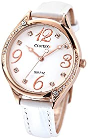Comtex Lady Rose Gold Ananog Quartz with White Leather Wrist Watch