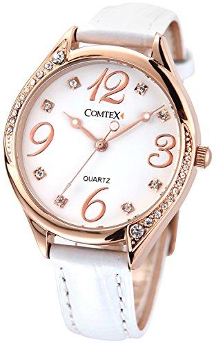 Comtex-Reloj-de-mujer-de-cuarzocorrea-de-piel-color-blancocaja-de-oro-rosa