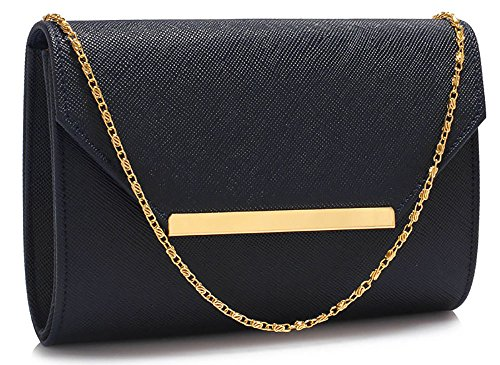 Handbag Navy Chain Bag Clutch 1 Ladies Flap Designer With Leather Faux Envelope Shoulder Purse Womens Design Large New aq6qXnT