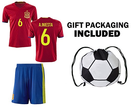 daf74a84b6c Fan Kitbag Spain Iniesta  6 Youth Home Away Soccer Jersey   Shorts Kids  Premium Gift Kitbag ✮ BONUS Soccer Ball Drawstring Backpack (Youth Large  10-13 ...