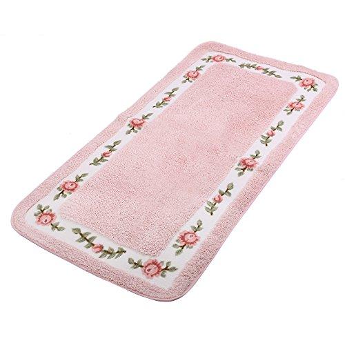 JSJ_CHENG Non Slid Rectangular Soft Microfiber Rose Floral Bath Area Rugs for Bathroom, Bedroom, Living Room, Ding Room, Girls Room (23.6-inch by 39.4-inch, Pink) - Rose Area Rug