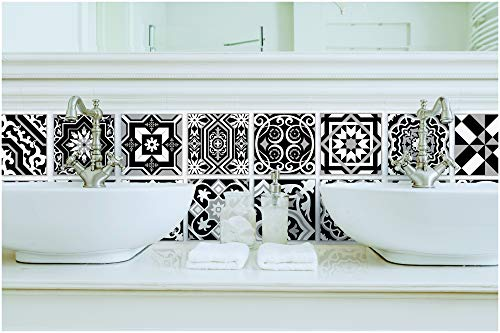 Tiva Design Peel and Stick Wall Tile Sticker Art Kitchen Eclectic Set of 24 Stickers 4x4 Inches - (Black & -