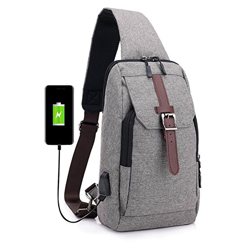 USB Grey Charging Nylon Prosperveil Strap Messenger Chest Men Sports Shoulder Handbags Packs g8wP08Uq