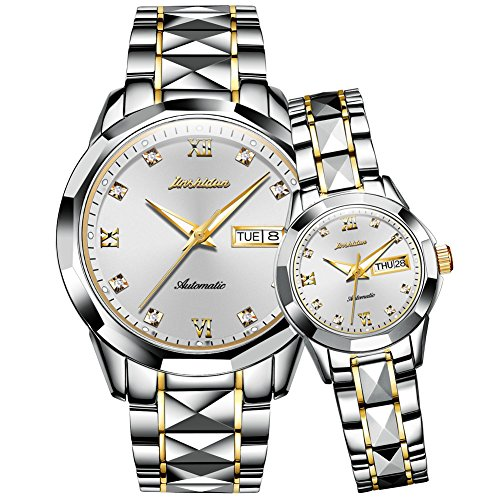 a46fdbd8a62c JSDUN His   Hers 8813 Tungsten Steel Two-Tone Automatic Watch Couple ...