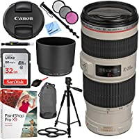 Canon EF 70-200mm f/4L IS USM Lens with Sandisk 32GB SDHC Memory Card Plus 67mm Filter Sets and Accessories Bundle