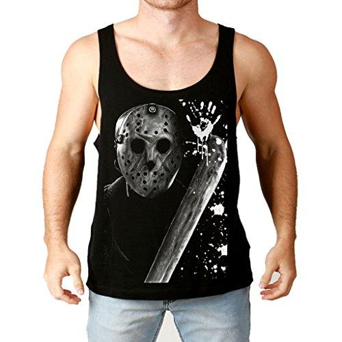 Mazumi8 Jason Voorhees Killer in mark Tank Top Size XL Black (Jason Voorhees Clothes)