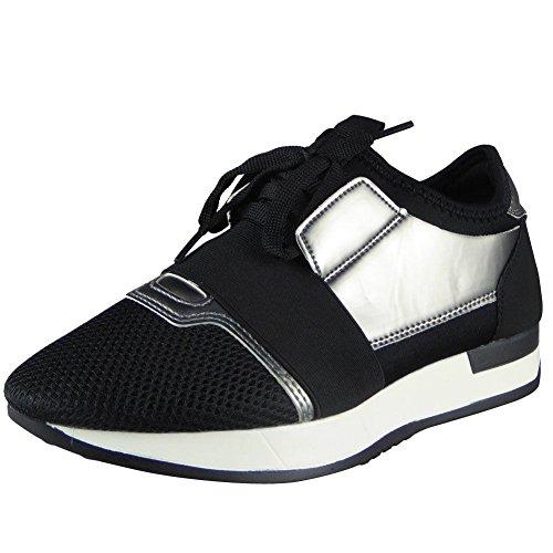 Femmes Fonctionnement Gym Des sports Dentelle En haut Chaussures Taille 36-41 NOIR PISTOLET